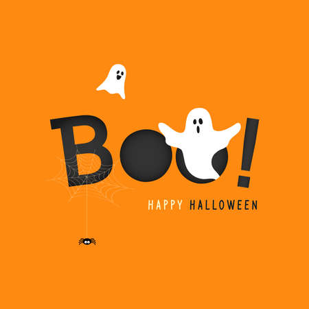Happy Halloween card vector illustration, Boo! with flying ghost and spider web on orange background
