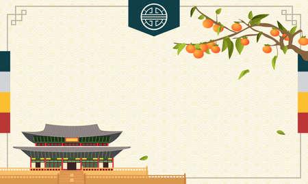 Vector de fondo del festival de la cosecha coreana (Chuseok o Hangawi), árbol de caqui con palacio tradicional coreano