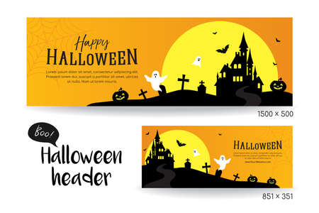 Happy Halloween banner vector illustration, Set of social media header template, Full moon with scary castle and copy space. 矢量图像