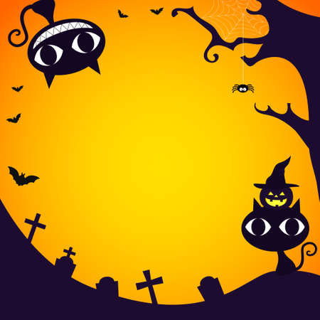 Halloween graveyard with copy space