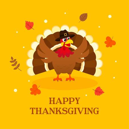 Happy Thanksgiving greeting card vector illustration, Turkey bird on yellow background