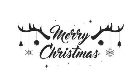 Merry Christmas text vector illustration, lettering with antlers and Christmas decoration.