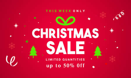 Christmas Sale Vector illustration, Typography combined in a shape of gift box with confetti on red background 矢量图像