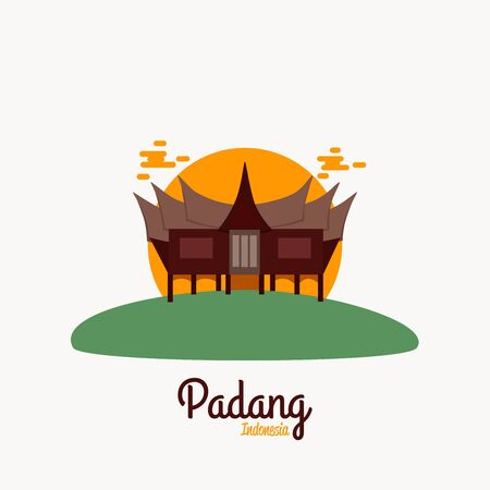 Padang West Sumatra Indonesia Vector illustration Vetores
