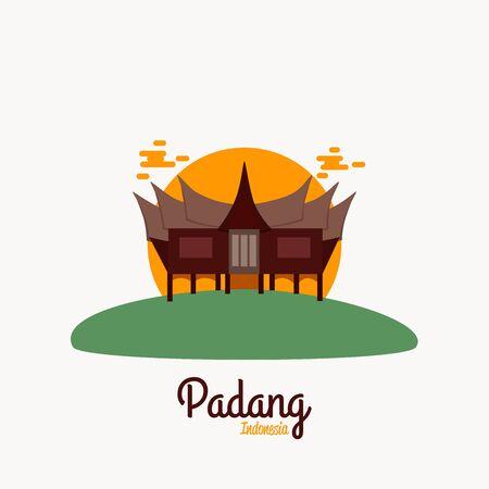 Padang West Sumatra Indonesia Vector illustration