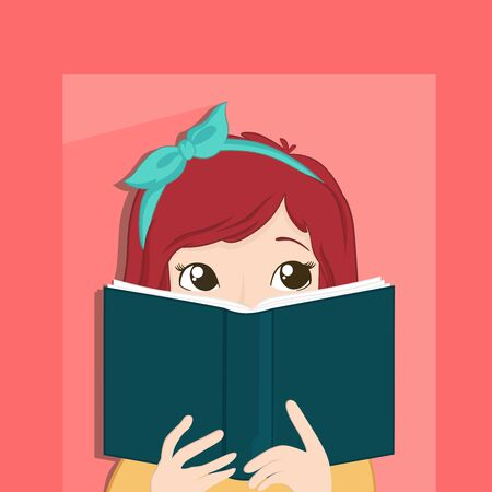Cute girl who is a book lovers vectors illustrations Vettoriali