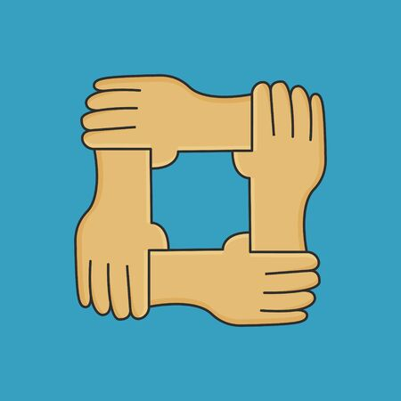 Solidarity Together Vector Concept. Hands Icon Illustration 向量圖像