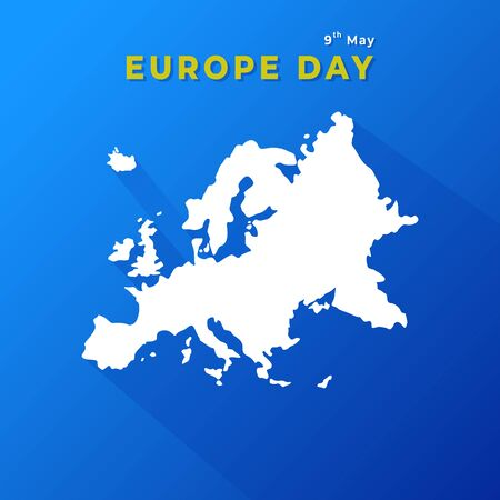 Europe Day 9th May. Concept Map of European Countries. Vector Illustration