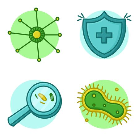 Antibody Fight Virus Bacteria and Germs. Vector Icon Concept
