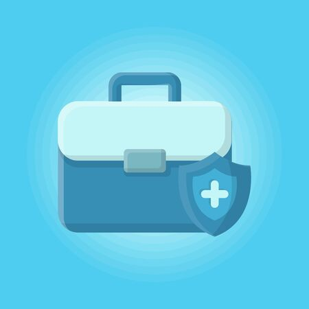 Bag Medicine and Medical Care Treatment. Icon and Illustration vector Design