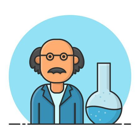 Scientists are Testing Chemicals. Laboratory Chemistry Science. Filled Icon Vector Design