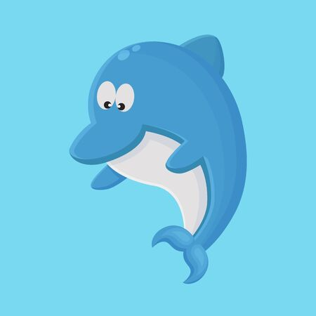 Dolphin Cartoon Character. Cute Animal Mascot Icon Flat Design 向量圖像