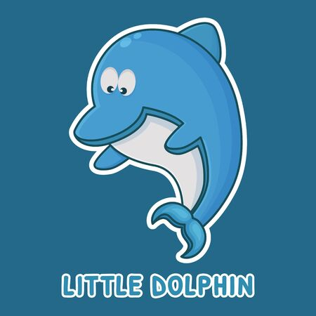 Dolphin Cartoon Character. Cute Animal Mascot Icon Filed Style. Kids Sticker Collection
