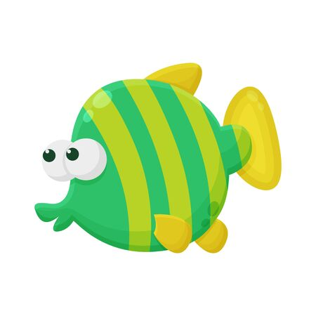 Funny Fish Cartoon Character. Cute Animal Mascot Icon Flat Design. Kids Drawing Concept