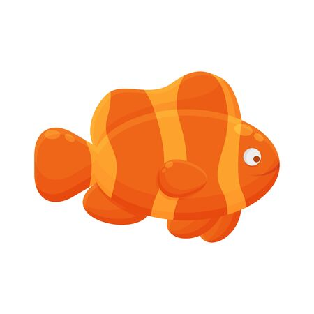 Fish Cartoon Character. Cute Animal Mascot Icon Flat Design. Kids Book