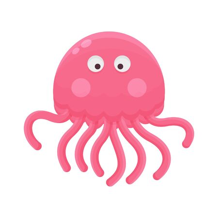 Jellyfish Cartoon Little Character. Cute Animal Mascot Icon Flat Design. Childrens Book