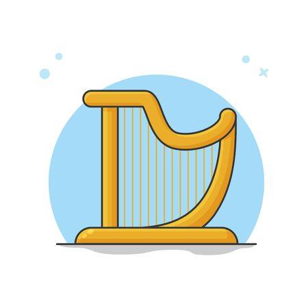Harp Instrument Orchestra. Music Symbol Logo Vector Illustration