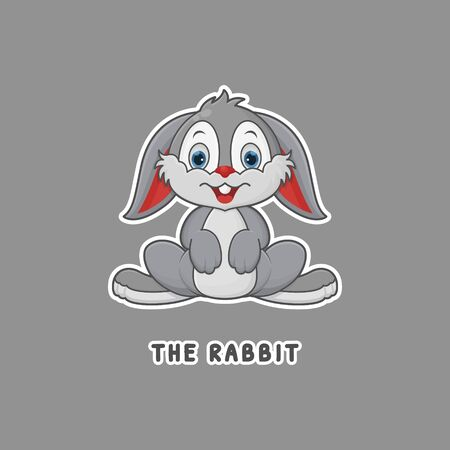 Rabbit Vector. Zoo Cartoon Character. Cute Animal Mascot Outline Style