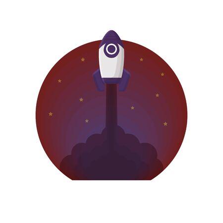 Rocket Space Vector Illustration Flat Style Ilustracja