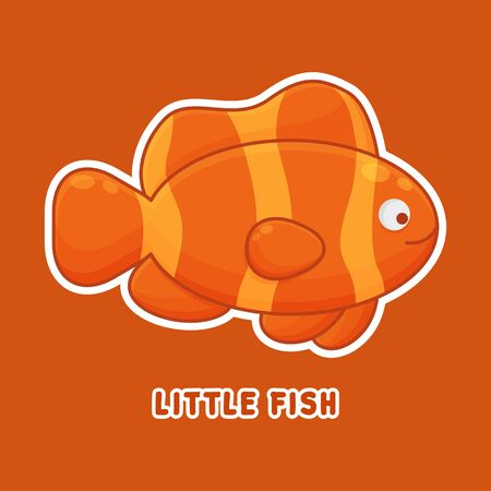 Little Fish Cartoon Character. Cute Animal Mascot Icon Filed Style. Kids Vector Collection