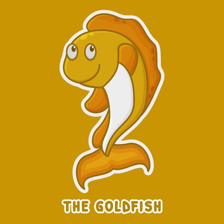 Goldfish Cartoon Zoo Character. Cute Animal Mascot Icon Filed Style. Kids Vector Collection 向量圖像