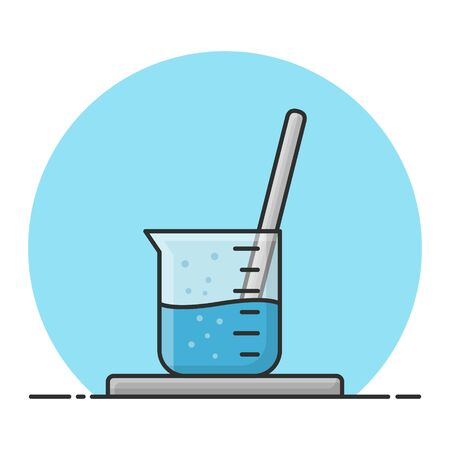 Beaker Glass and Stirrer. Laboratory Chemistry Science. Filled Icon Vector Design