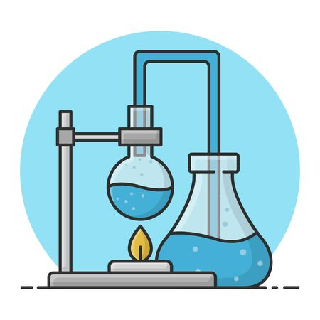Erlenmeyer and Flask Tube. Chemistry Science Experiment In Laboratory. Filled Icon Vector Design