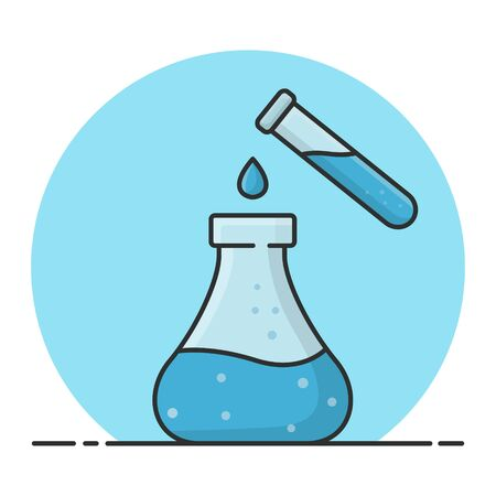 Mixing Chemicals With Test Tubes End Erlenmeyer. Experiment In Laboratory. Filled Icon Vector Design  Stock Illustratie
