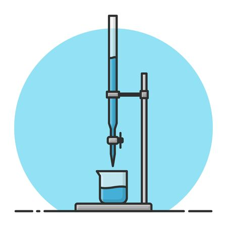Buret Chemical Experiment. Laboratory Chemistry Science. Filled Icon Vector Design