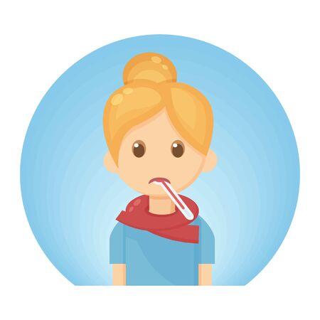 Female Fever Sick Cute Character. Symptom of Infection Virus