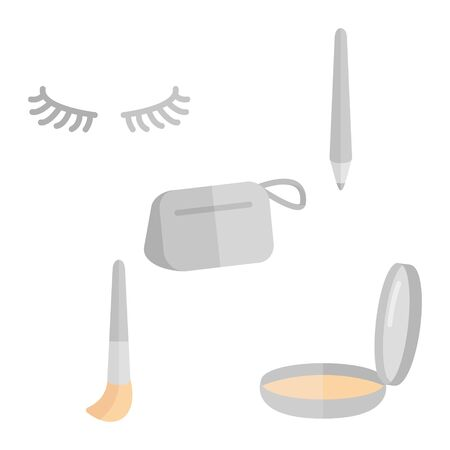 Womens Makeup and Skincare. Mascara Cosmetic Bag Eyebrow Pencil and Facial Brush. Flat Icon. Vector Design