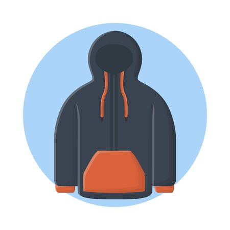 Jacket Hoodie Fashion Clothes. Flat Icon Vector Design