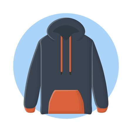 Hoodie Sweater Jacket Clothing. Flat Icon Vector Design