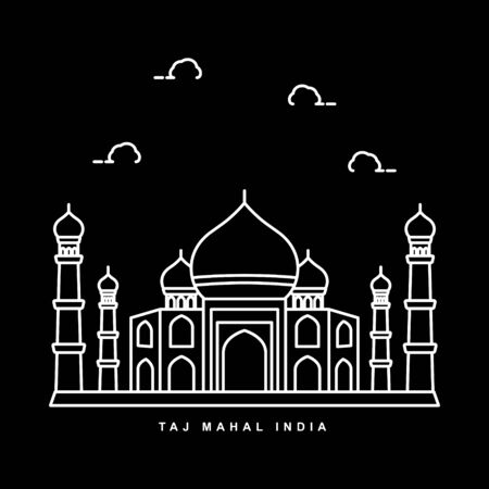 Taj Mahal Mosque Illustration. India Building Landmark. Outline Icon Vector Design Иллюстрация