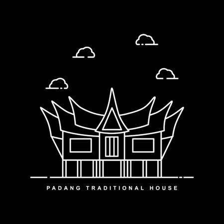 Padang Traditional House. Landmark City in Indonesia. Outline Icon Vector Design