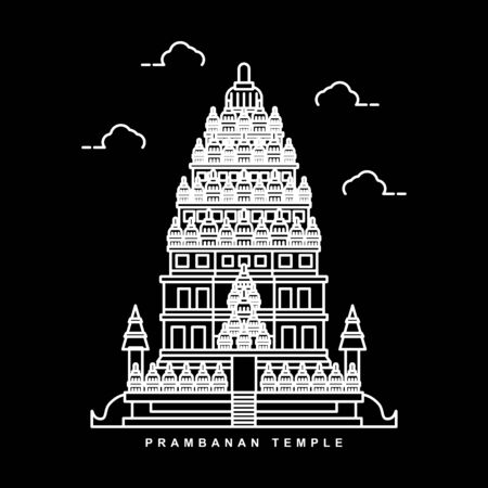 Prambanan Temple Illustration. Indonesia Historical Building. Outline Icon Vector Design