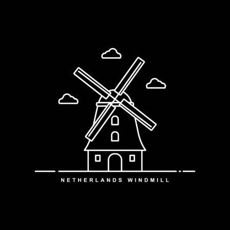 Holland Landmark Building. Netherlands Windmill. Line Icon Vector Design