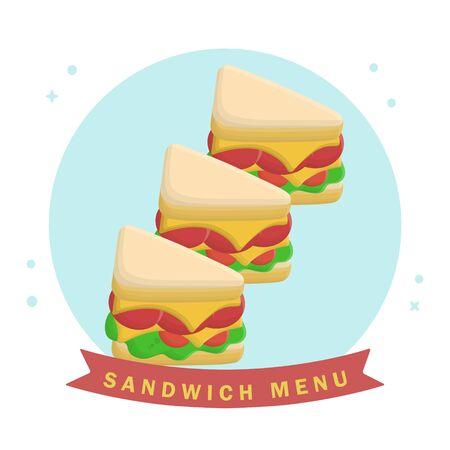 Sandwich Food Menu Breakfast. Flat Icon Vector Design