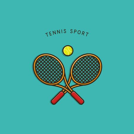 Tennis Sport Racket and Ball Illustration Concept Mascot Icon Design Vector