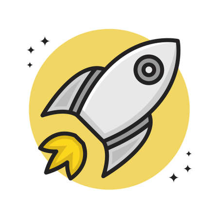 Rocket Space Transportation Icon Cartoon Filled Line Style. Spaceship Astronaut Logo Vector Illustration. Space Astronomy Element Icon Sticker