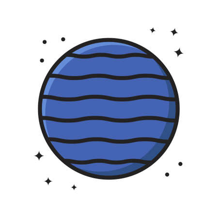 Jupiter Planet Icon Cartoon Filled Line Style. Planet Space Astronomy Space Logo Vector Illustration. Space Element Sticker