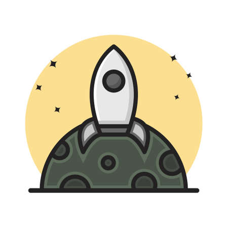 Rocket Space Transportation Icon Cartoon Filled Line Style. Spaceship Astronaut Logo Vector Illustration. Space Element Sticker