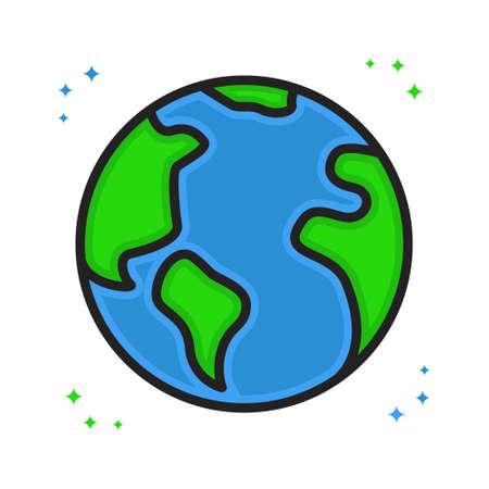 Earth Icon Cartoon Filled Line Style. Globe World Logo Vector Illustration. World Geography Sticker Иллюстрация
