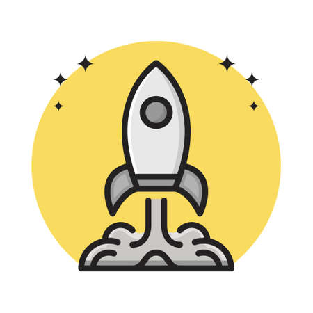 Rocket Space Icon Cartoon Filled Line Style. Space Rocket Aircraft Flight Astronomy Logo Vector Illustration. Space Icon Sticker