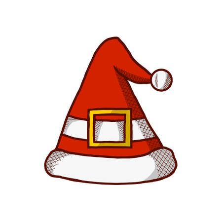Christmas Red Hat Cap Icon. Santaclaus Hat Winter Season Cartoon Design. Christmas Logo Vector