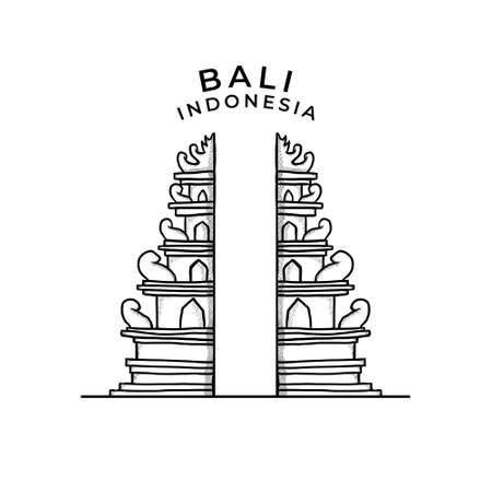 Temple Tourism Religious Herritage Icon Hand Drawn Vector. Bali Island Destination Symbol Background. Bali Indonesia Shrine Landmark Illustration 向量圖像