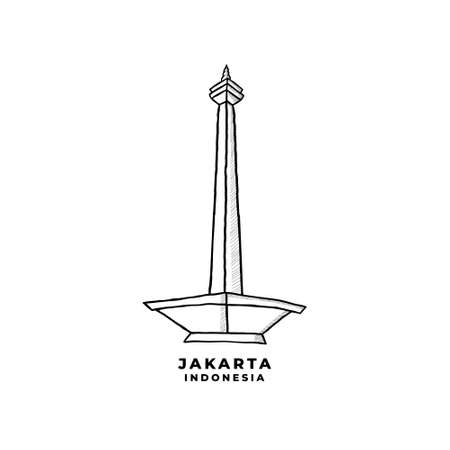 National Monument Jakarta Indonesia Vector. Historical Building In Jakarta Icon Cartoon Illustration