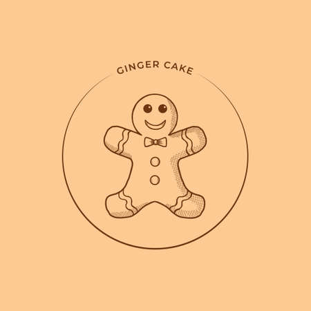 Ginger Cake Vector Illustration. Christmas Cookie Icon Design. Food Pastry  Conceptual