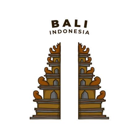 Bali Indonesia Shrine Landmark Illustration. Temple Tourism Religious Herritage Icon Vector. Bali Island Destination Icon Symbol Background