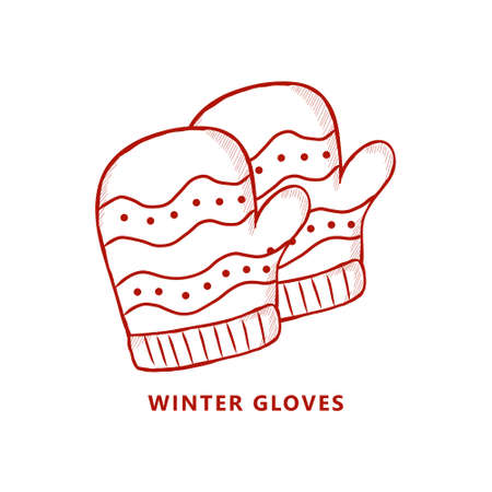 Gloves Christmas Fashion Symbol Illustration. Winter Gloves Logo Vintage Hand Drawn.  Clothes Gift Xmas Icon Vector